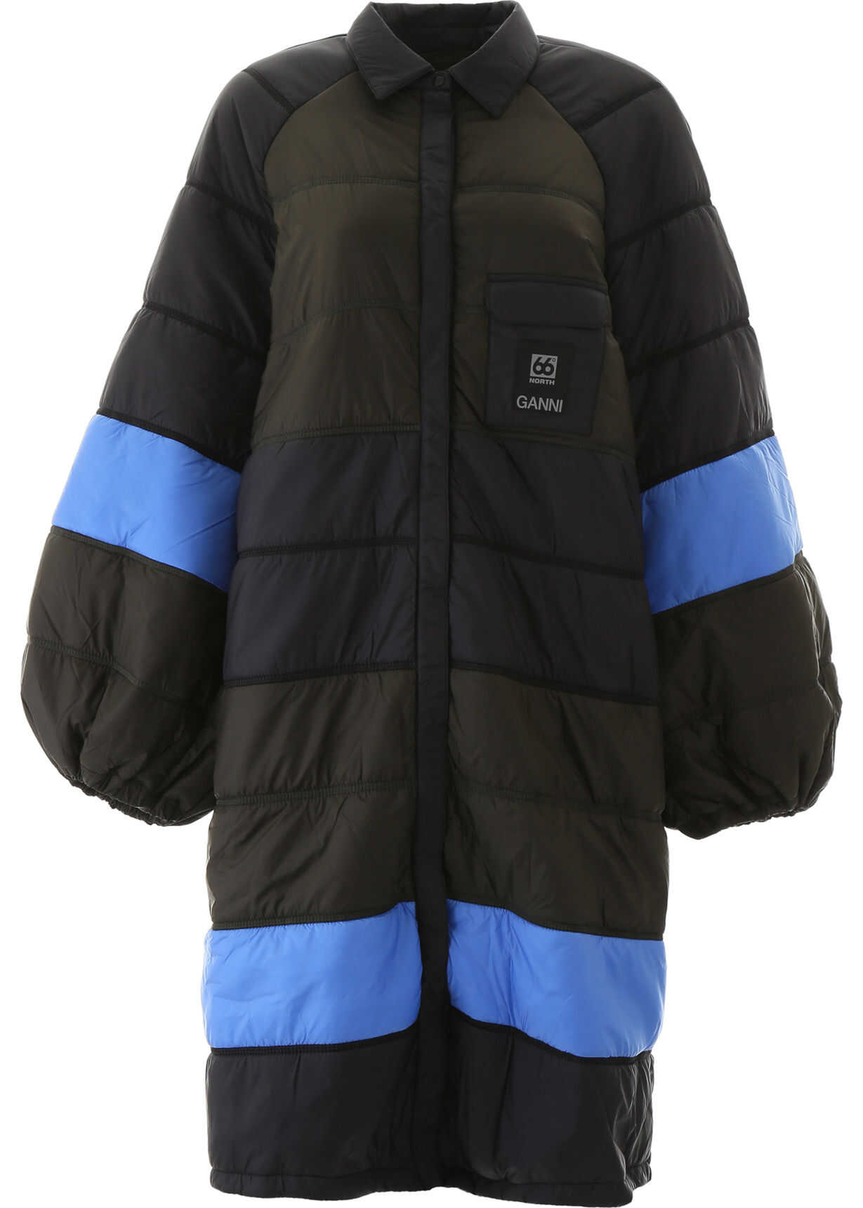 Ganni Color Block Puffer Jacket BLUE MULTI