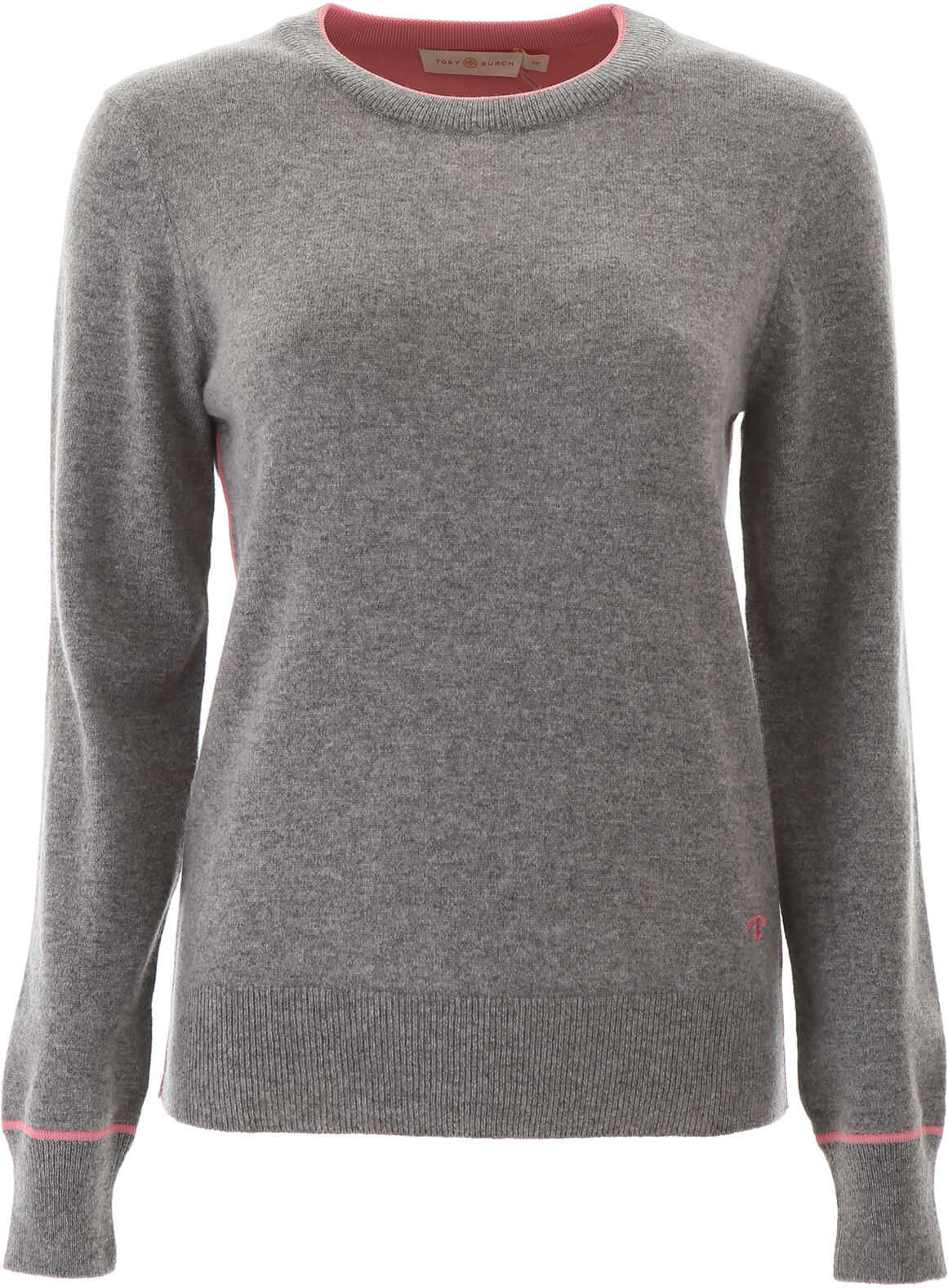 Tory Burch Cashmere Knit With Piping MEDIUM GRAY MELANGE VIVID PINK