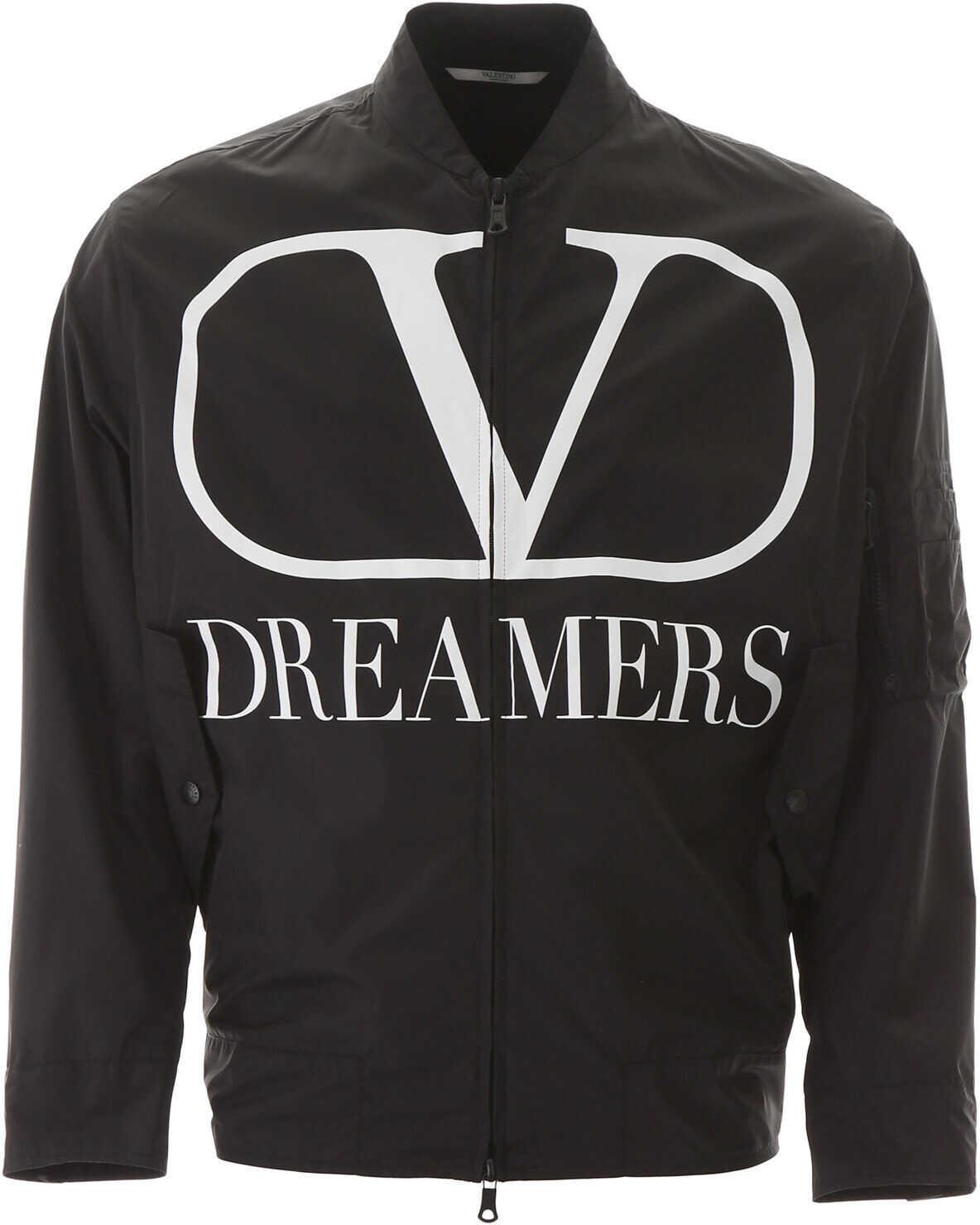 Valentino Garavani Vlogo Dreamers Bomber Jacket NERO BIANCO imagine
