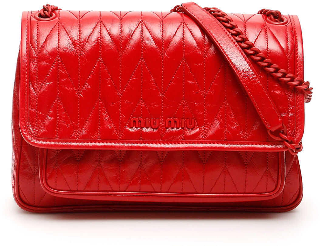 Miu Miu Quilted Shine Calfskin Bag 5BD160 V OOO 2D6C ROSSO imagine b-mall.ro