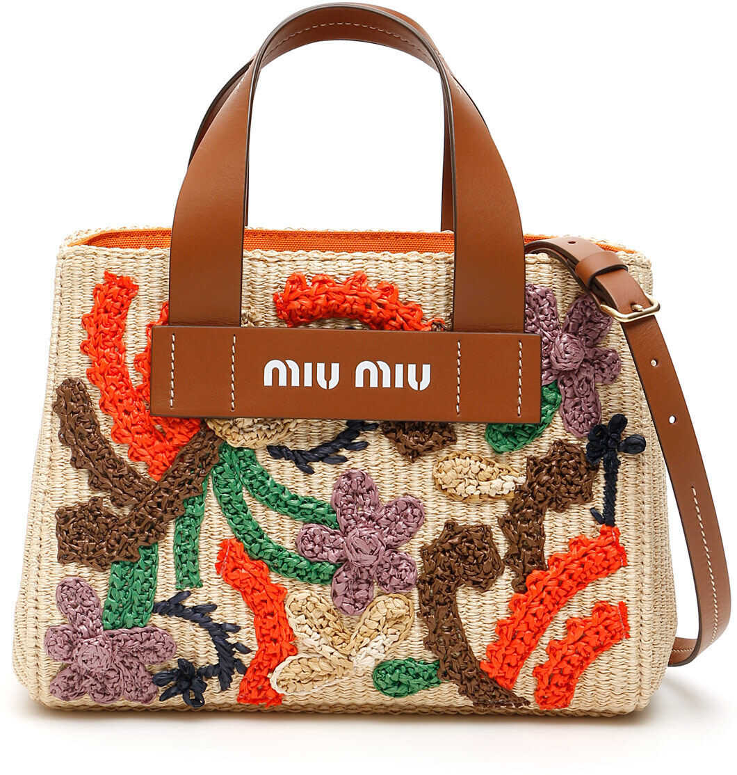 Miu Miu Raffia Embroidered Handbag 5BA176 V ORH 2C9H NATURALE COGNAC imagine b-mall.ro