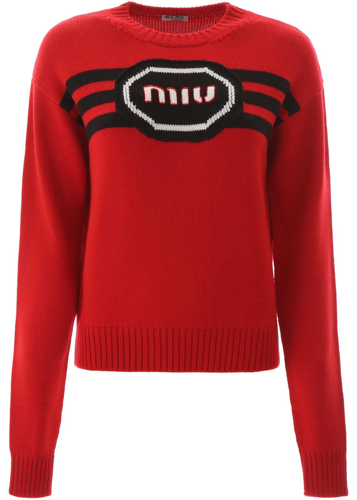 Miu Miu Logo Embroidery Sweater ROSSO