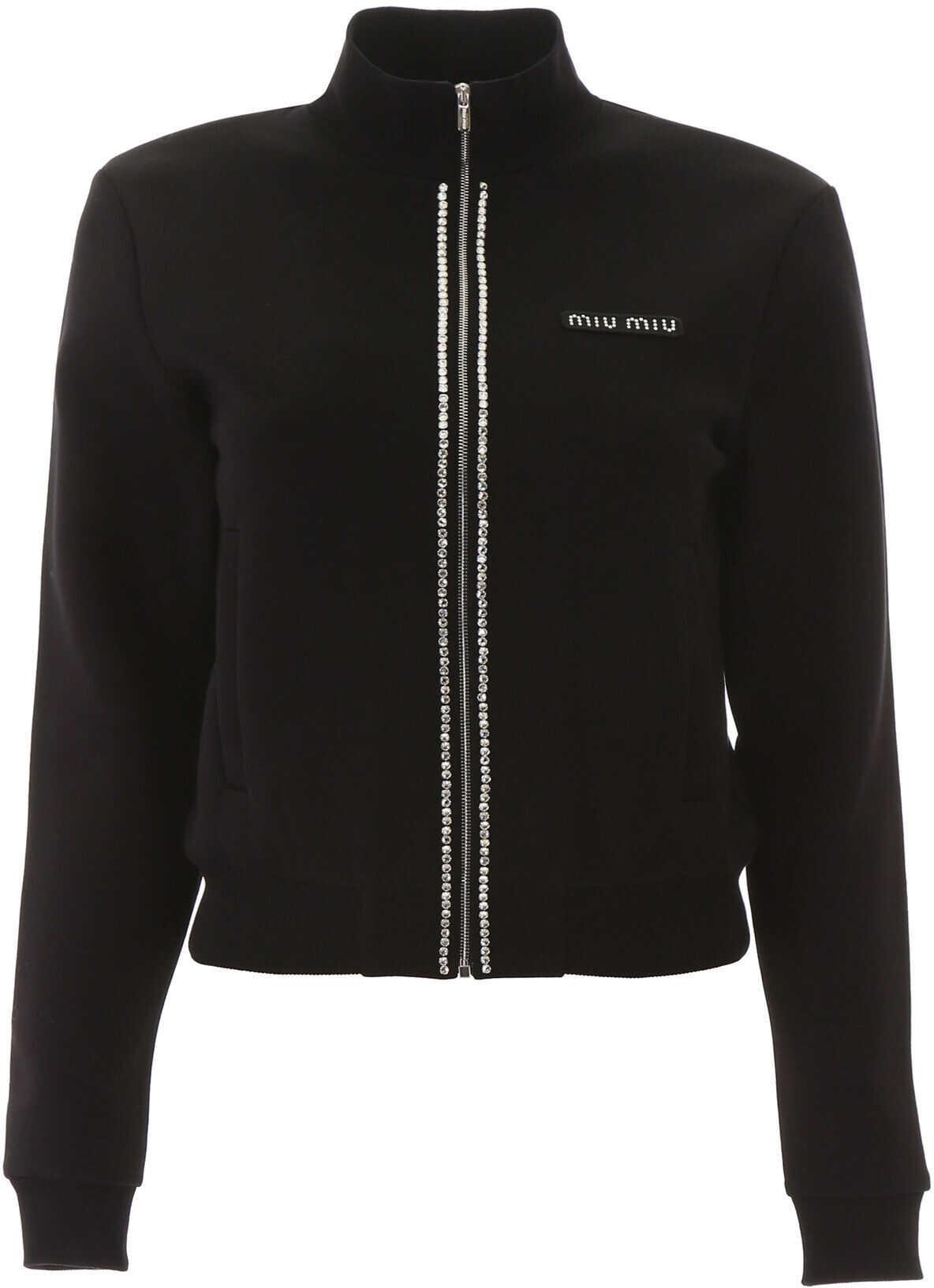 Miu Miu Zipped Sweatshirt With Crystals NERO