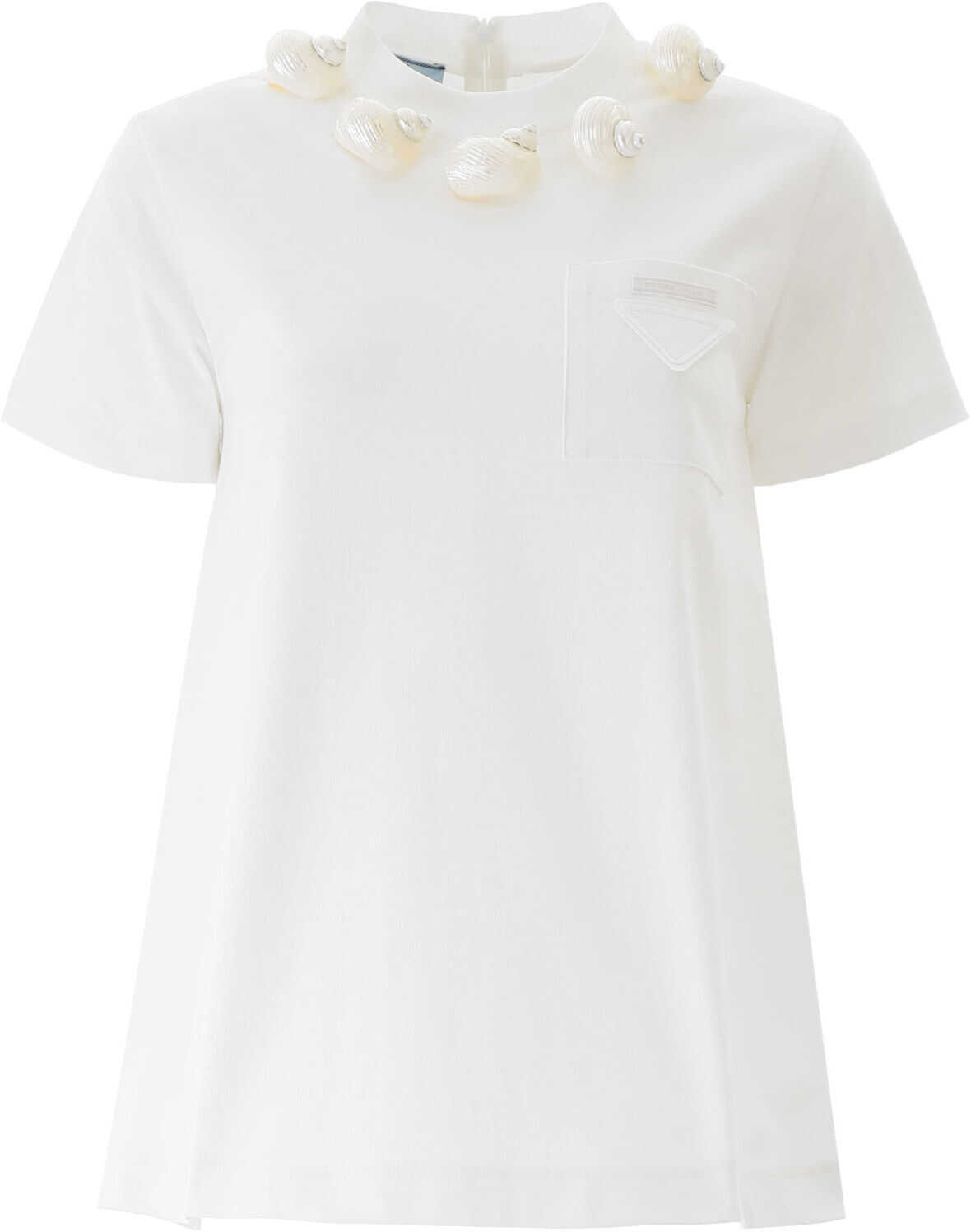 Prada Flared T-Shirt With Shells BIANCO