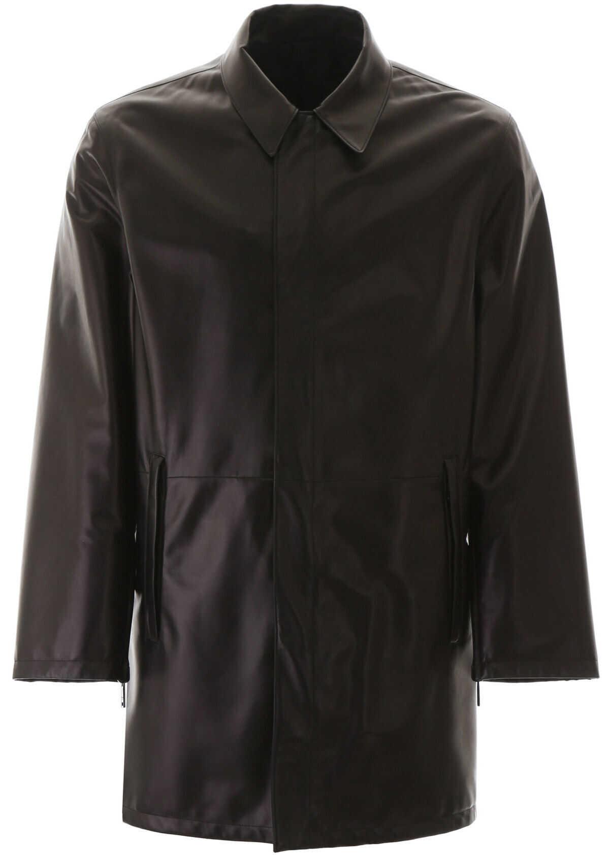 Prada Reversible Leather And Nylon Coat NERO