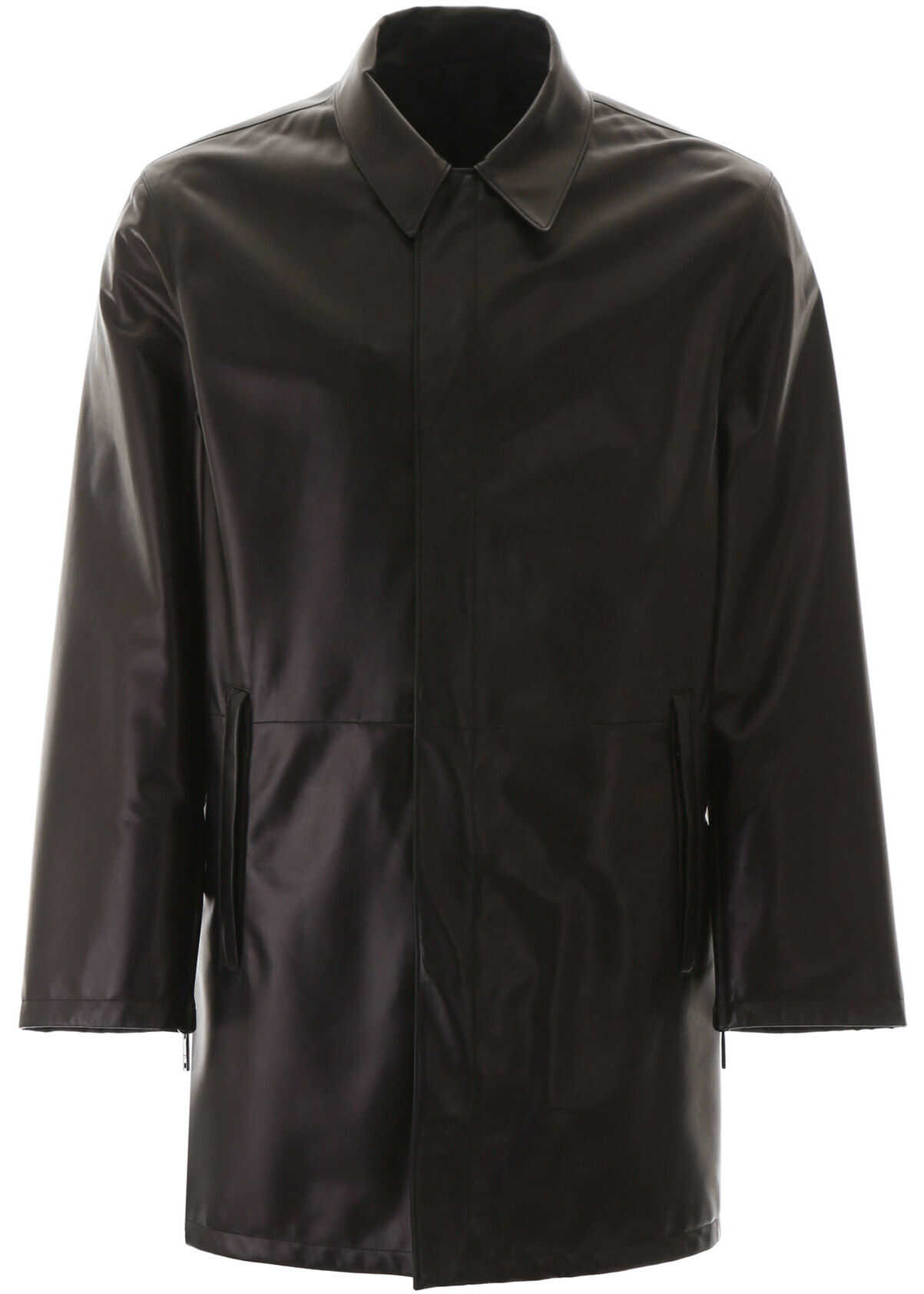Prada Reversible Leather And Nylon Coat NERO imagine