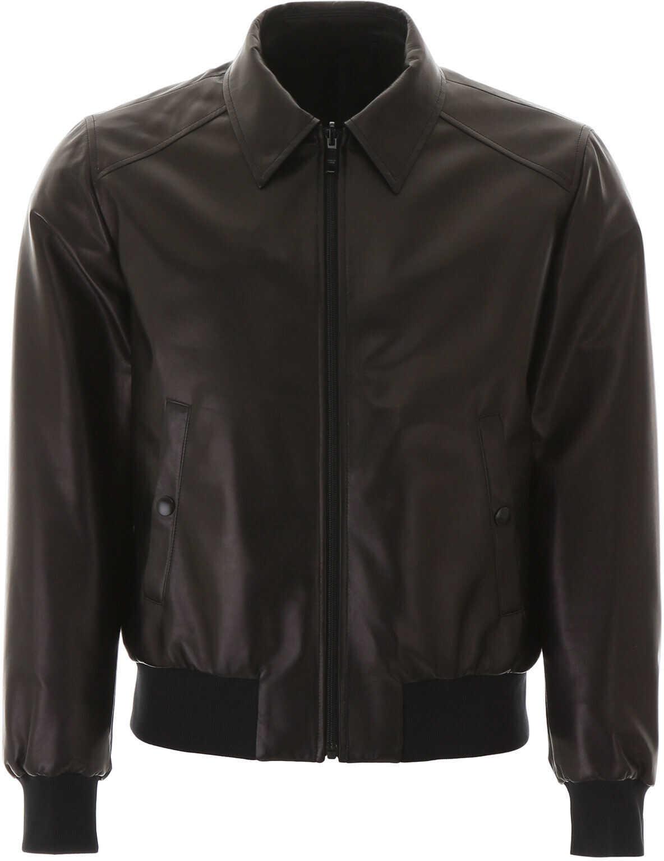 Prada Reversible Leather And Nylon Bomber Jacket NERO imagine