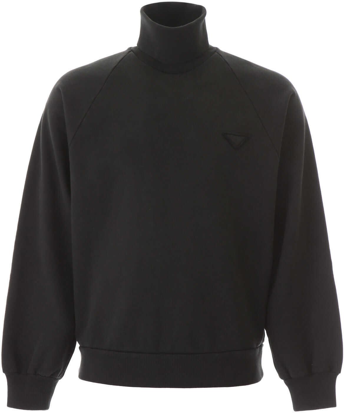 Prada Turtleneck Sweatshirt NERO imagine