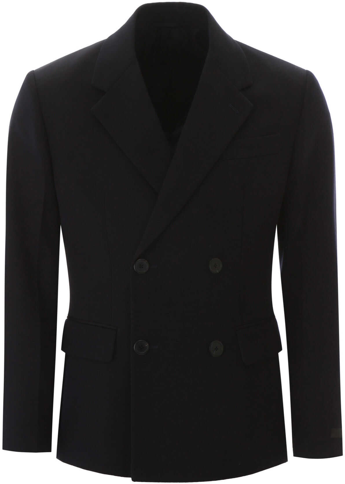 Prada Double-Breasted Wool Blazer BLEU imagine