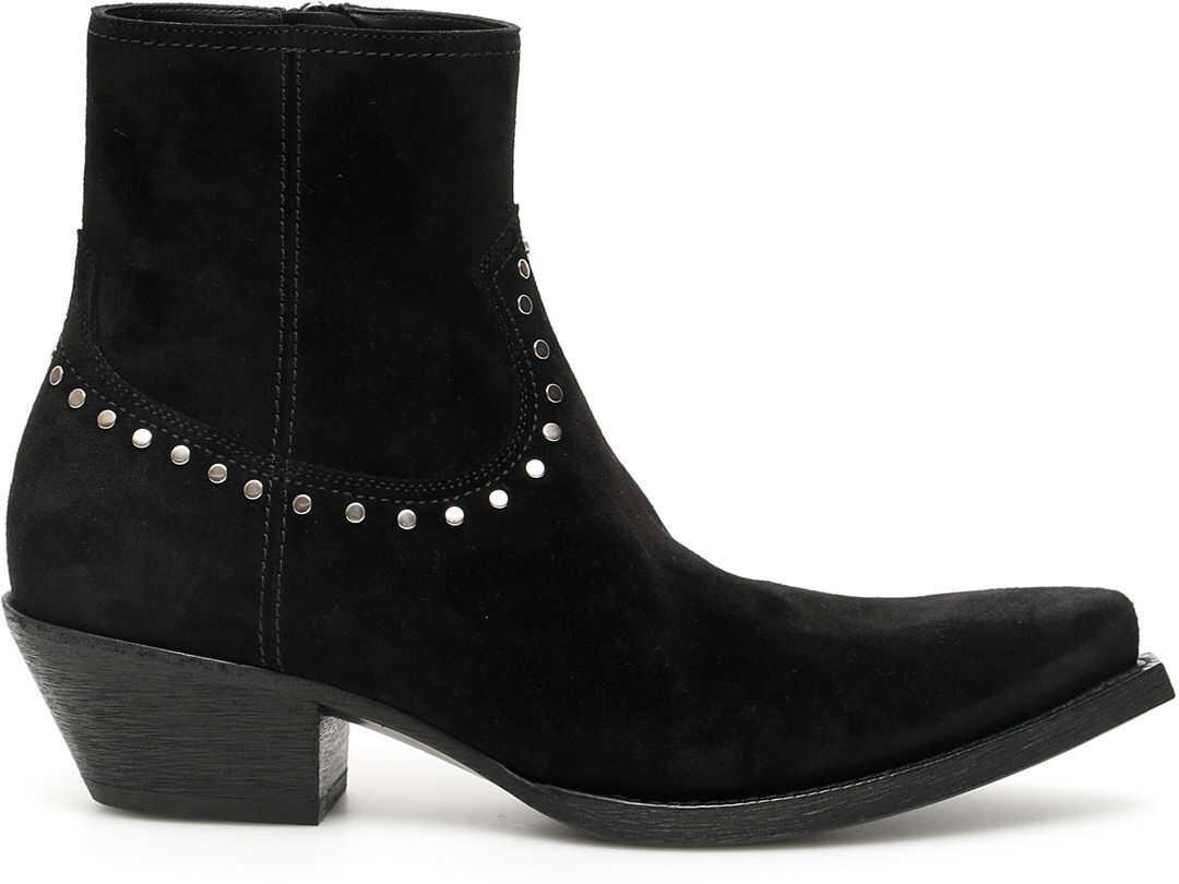 Saint Laurent Lukas Cowboy Ankle Boots 40 NERO