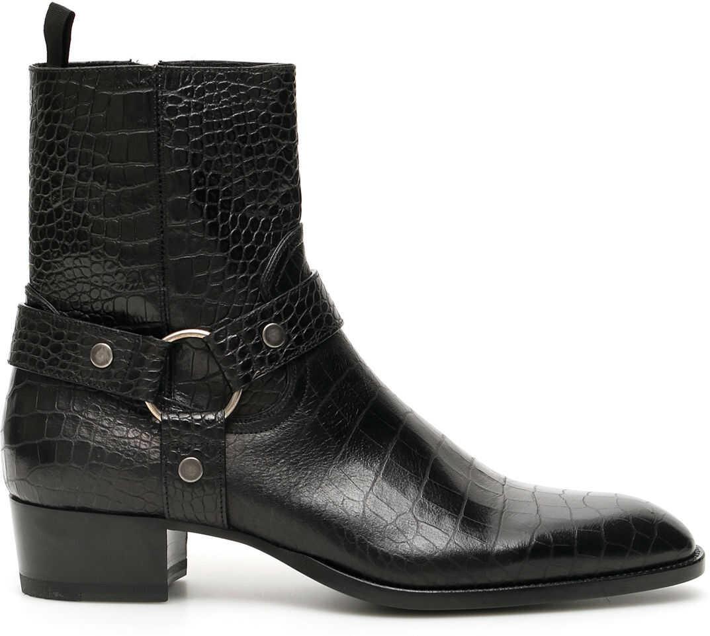 Saint Laurent Wyatt 40 Harness Boots NERO