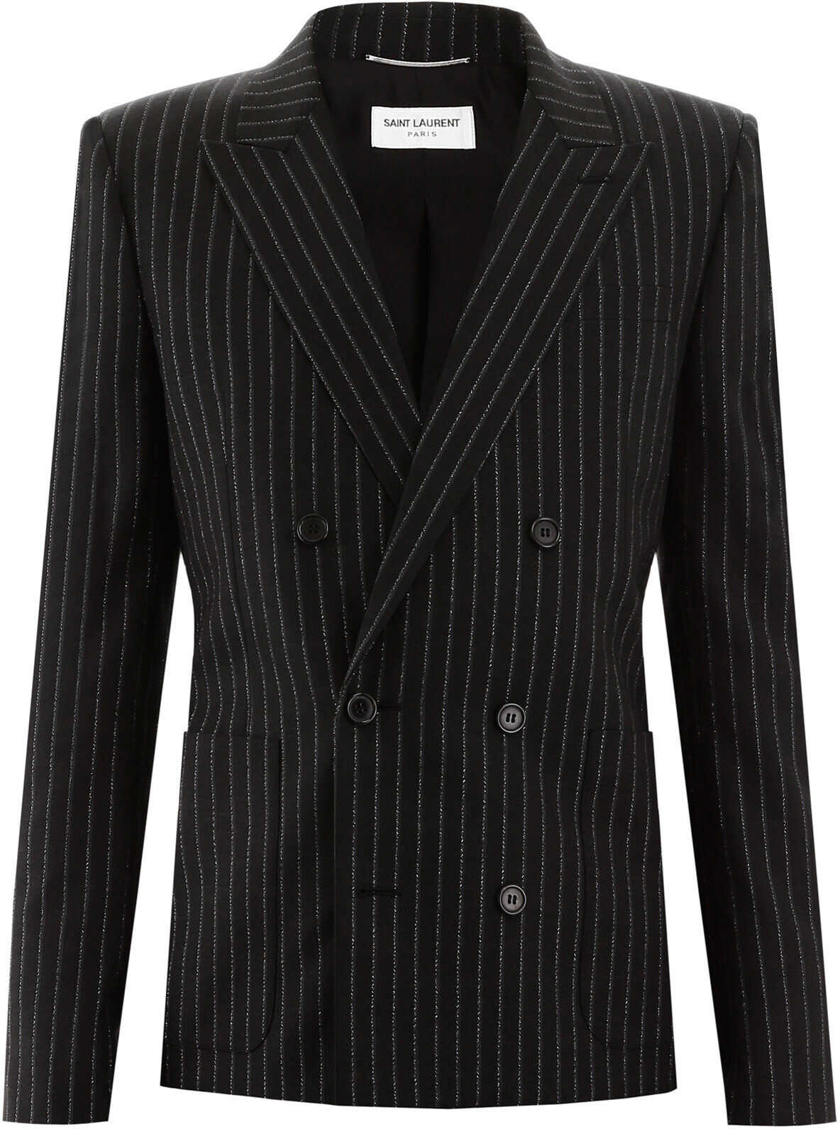 Saint Laurent Pinstripe Blazer NOIR ARGENT imagine