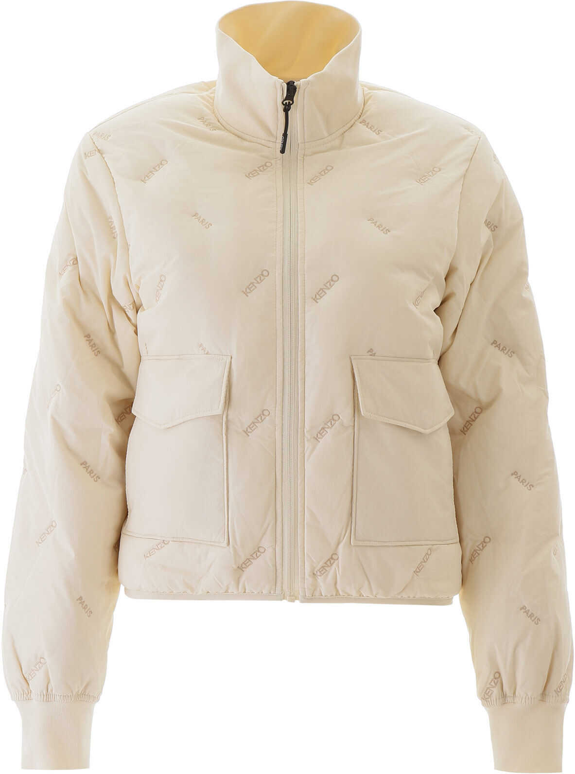 Kenzo Puffer Jacket With Logo Embroideries BLANC CASSE
