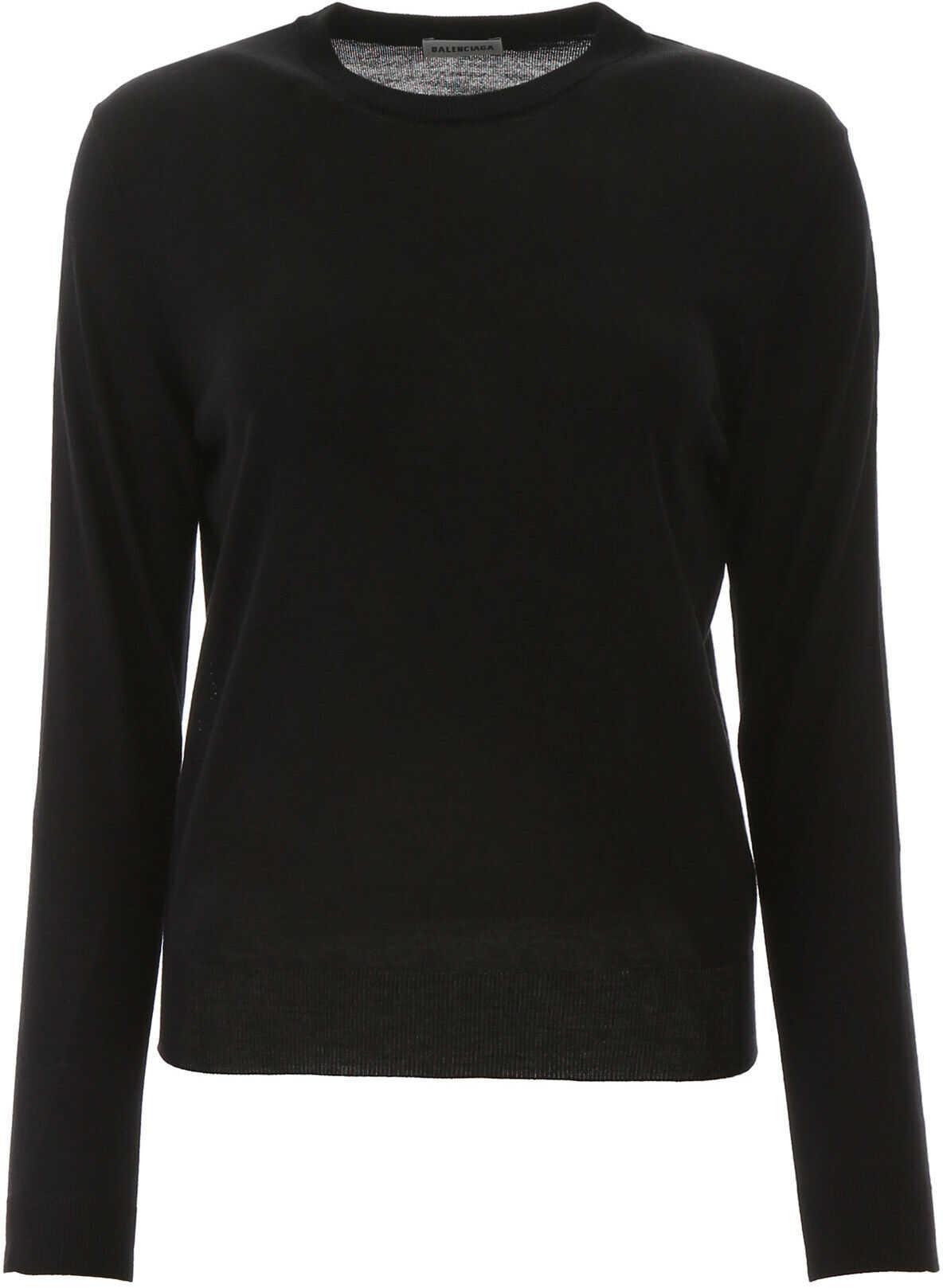 Balenciaga Fluo New Logo Pullover BLACK FLUO GREEN