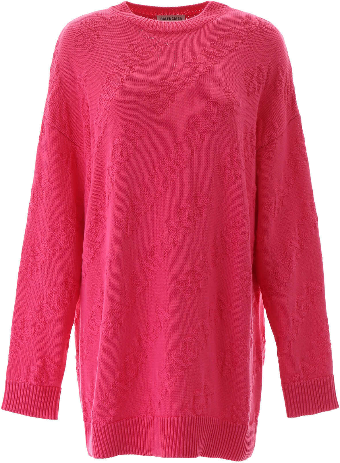 Balenciaga Jacquard Logo Pullover SHOCKING PINK