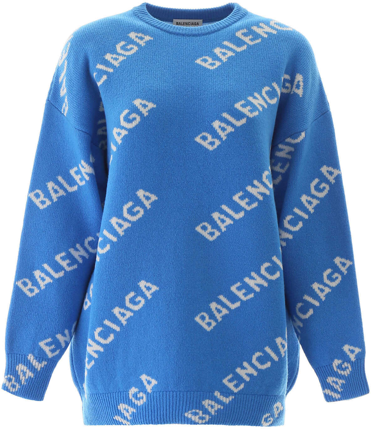 Balenciaga Jacquard Logo Sweater SCREEN BLUE WHITE