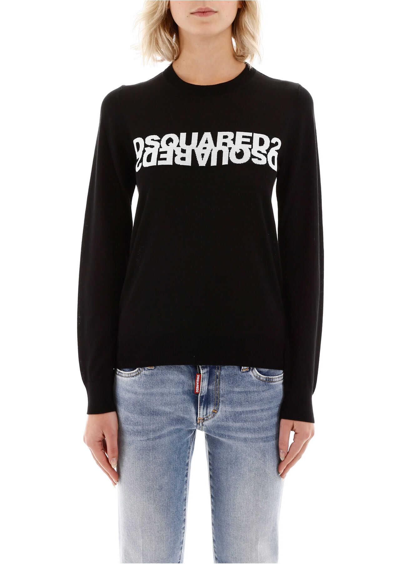 DSQUARED2 Sweater With Logo BLACK WHITE INTARSIO