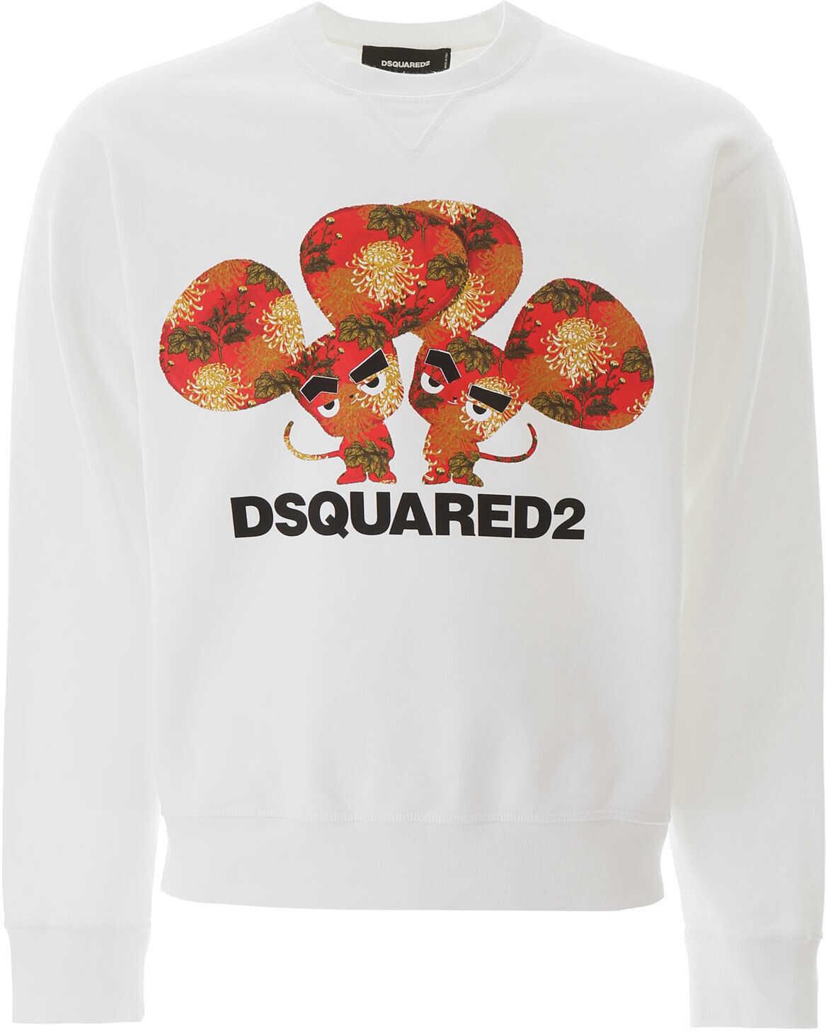 DSQUARED2 Logo Print Sweatshirt WHITE imagine