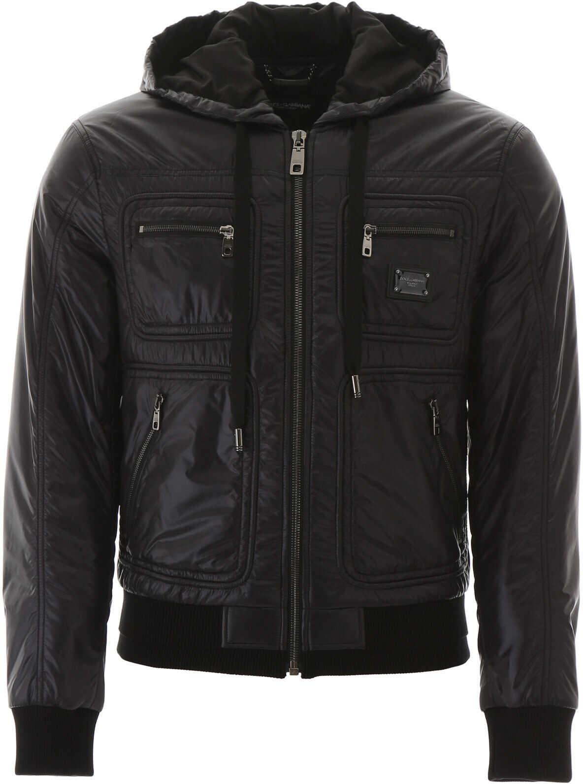 Dolce & Gabbana Hooded Bomber Jacket NERO imagine