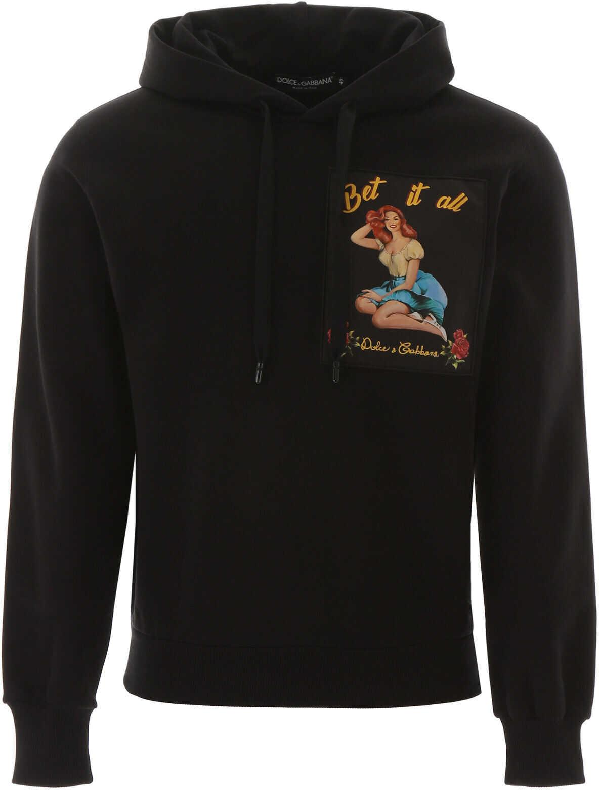 Dolce & Gabbana Pin-Up Print Hoodie NERO
