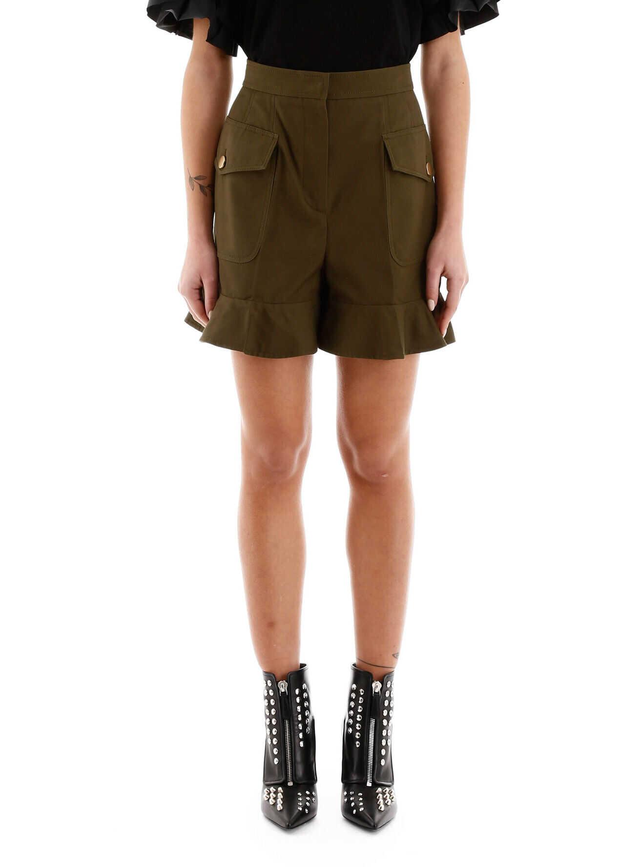 Alexander McQueen Ruffled Shorts KHAKI GREEN