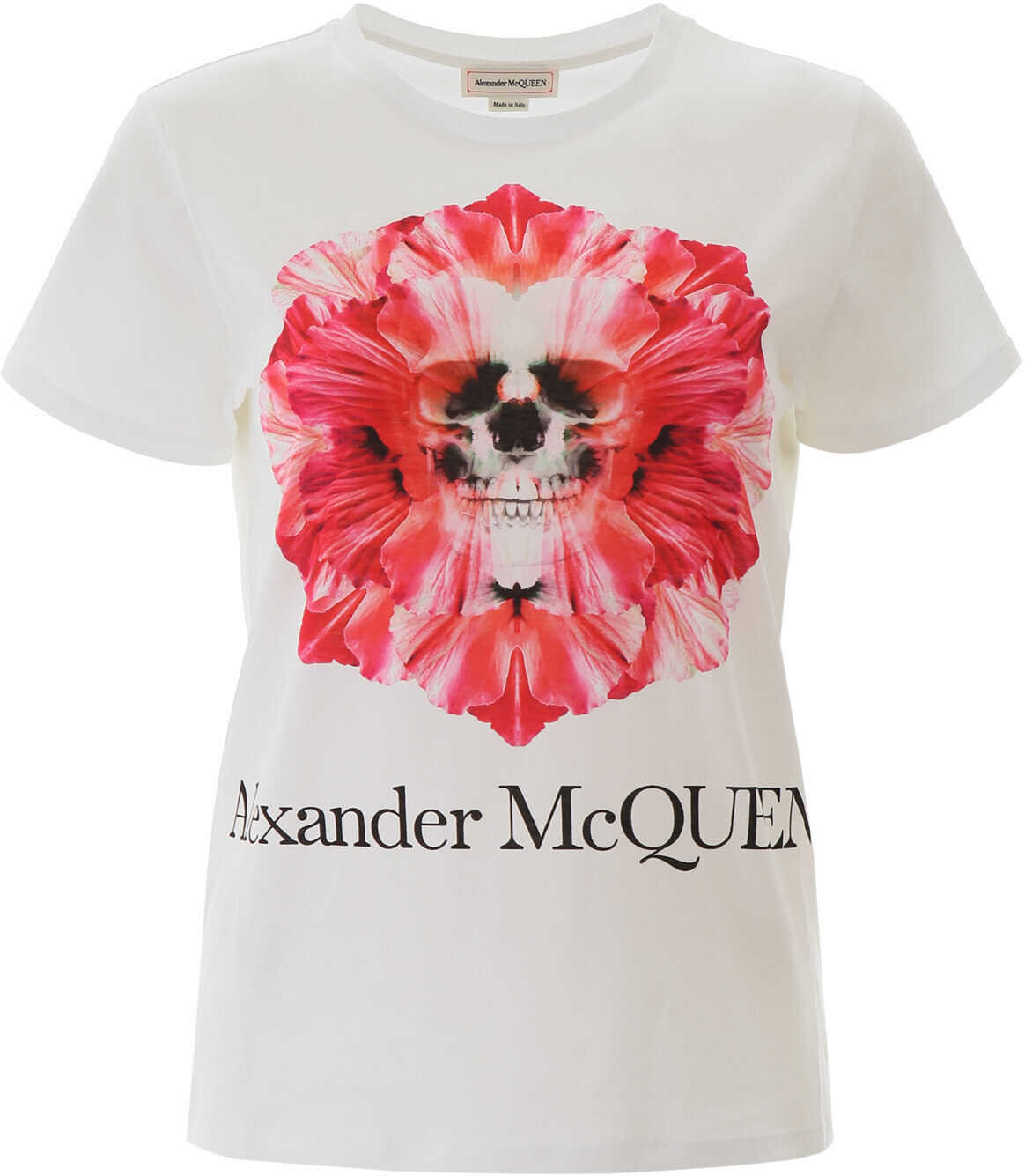 Alexander McQueen Skull Flower T-Shirt WHITE