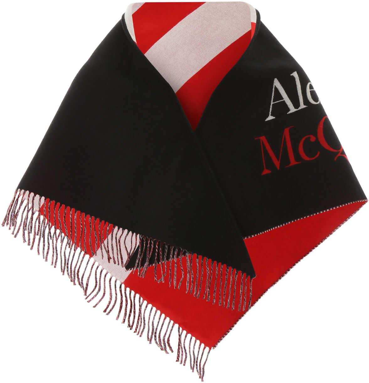Alexander McQueen Jacquard Logo Scarf BLACK IVORY