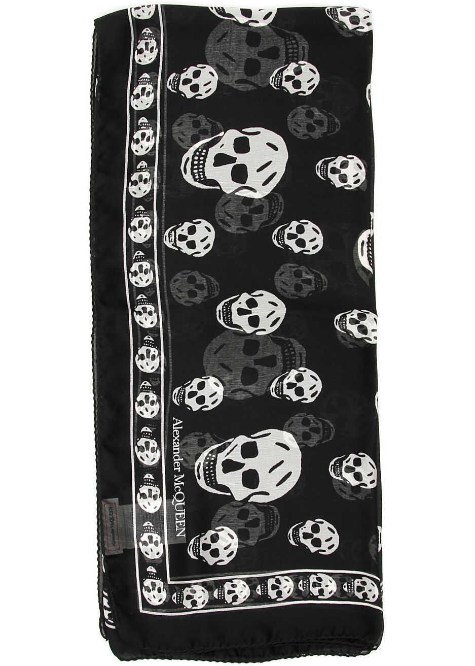 Alexander McQueen Skull Silk Scarf BLACK IVORY