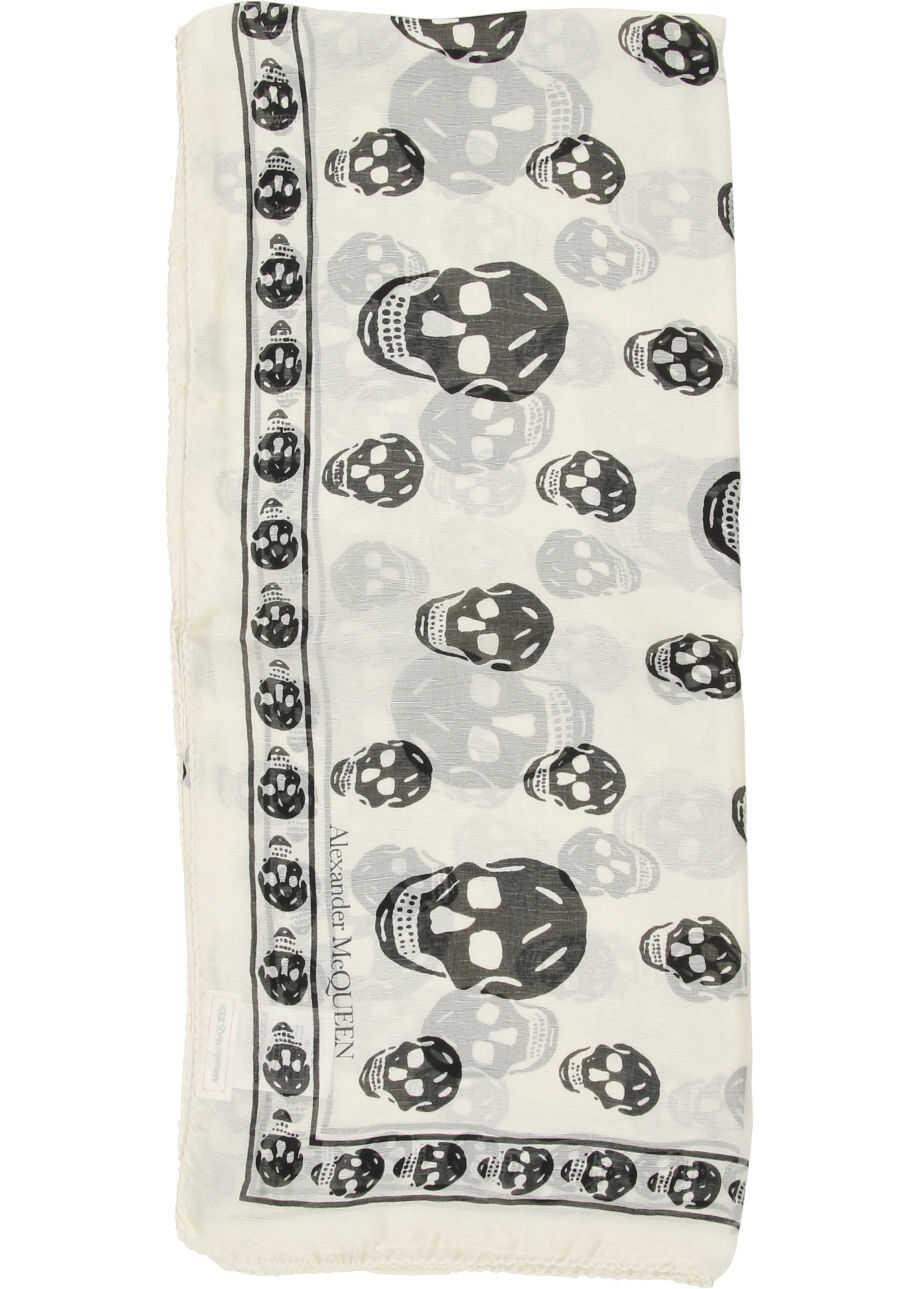 Alexander McQueen Skull Silk Scarf IVORY BLACK