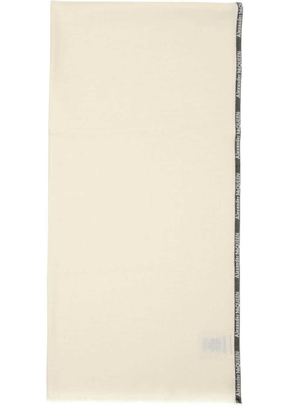 Alexander McQueen Selvedge Silk And Cashmere Scarf IVORY