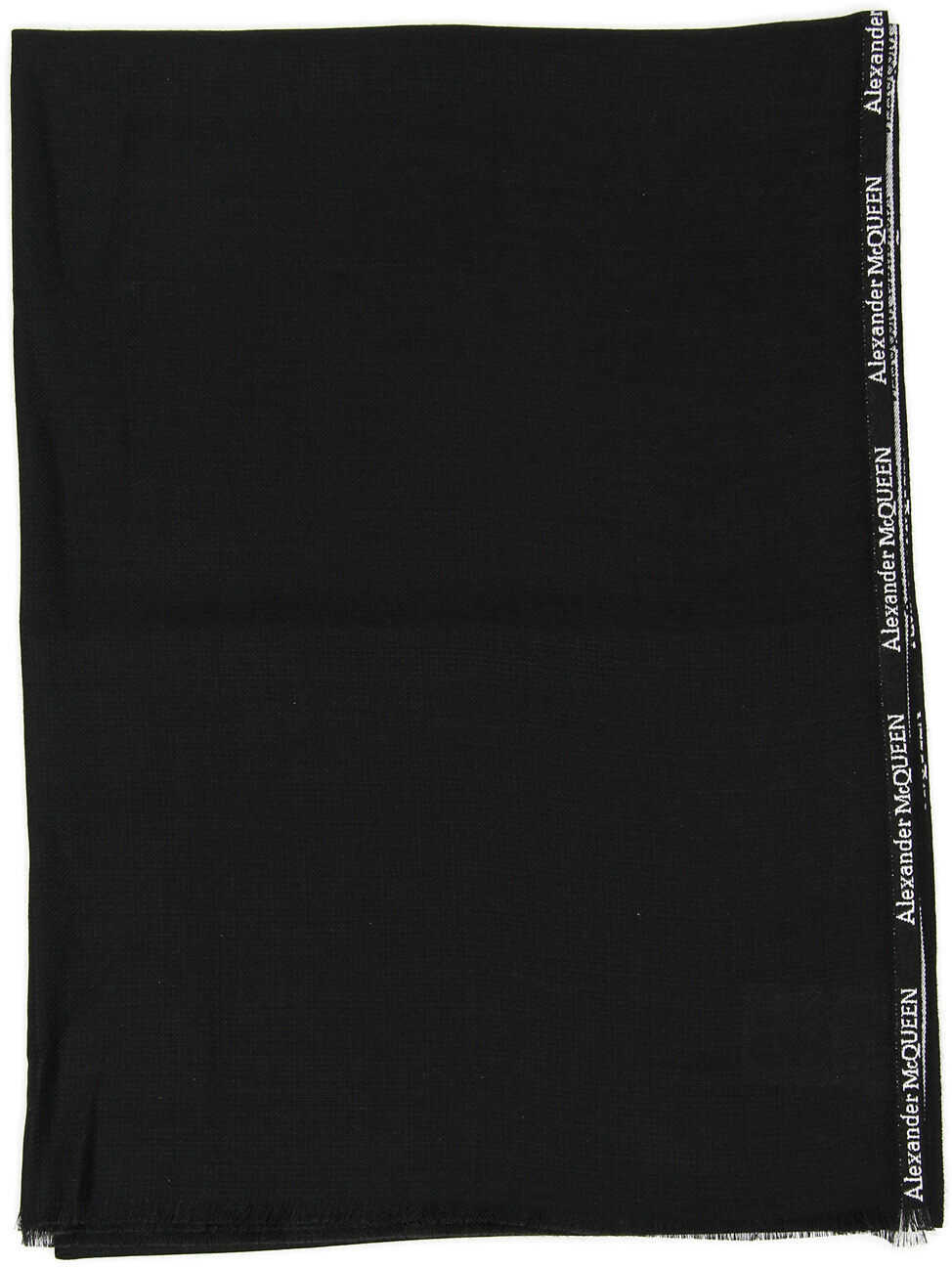 Alexander McQueen Selvedge Silk And Cashmere Scarf BLACK IVORY