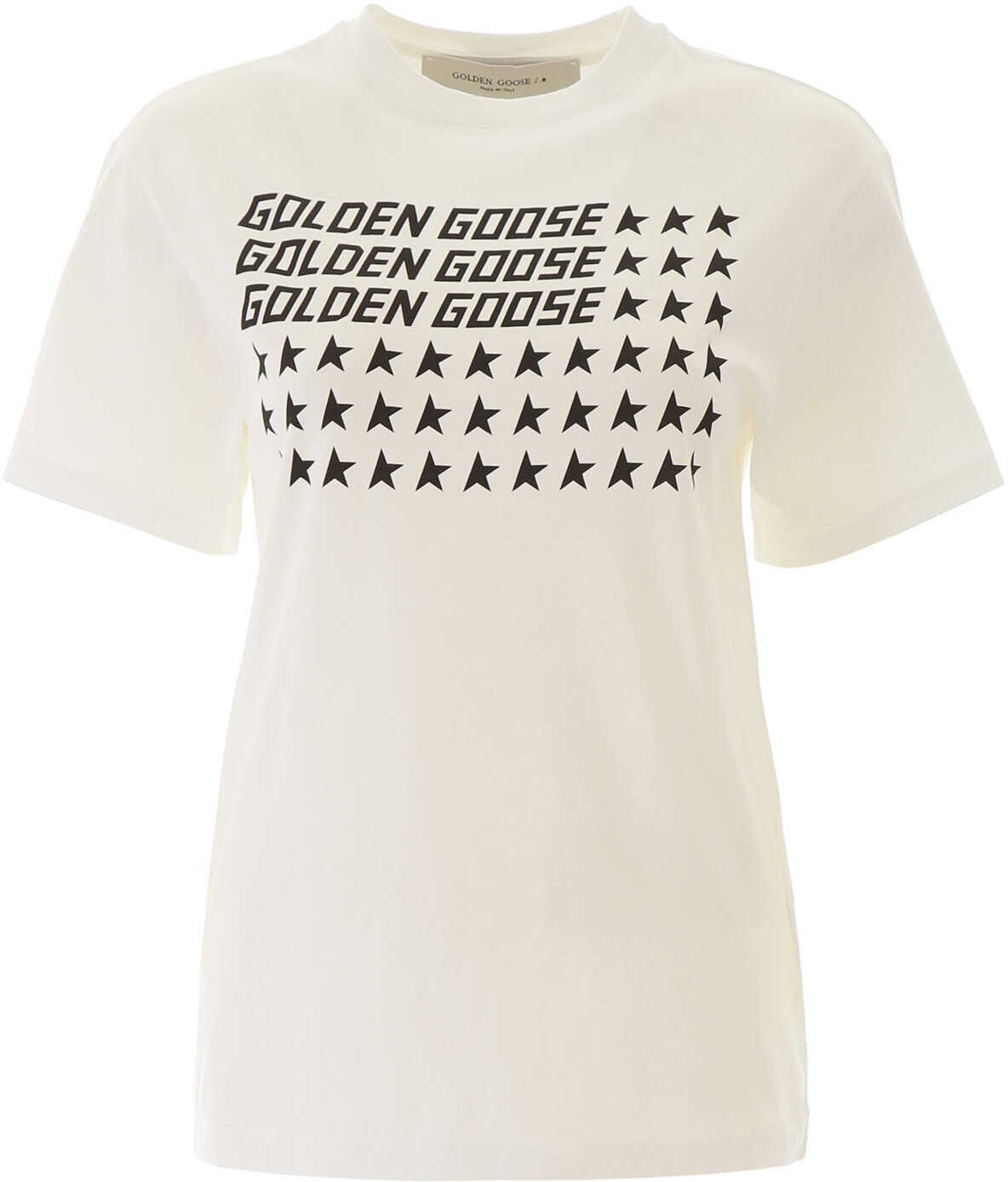 Golden Goose Logo Stars T-Shirt WHITE FLAG