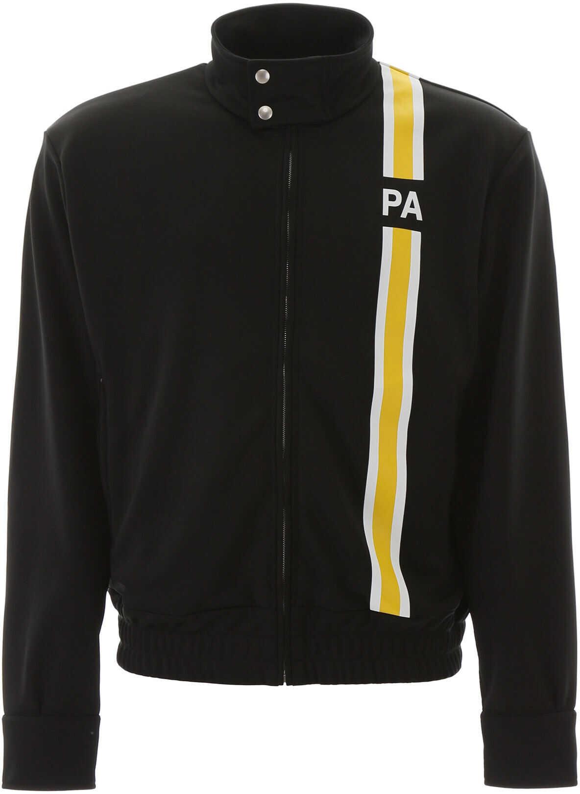 Palm Angels Zip-Up Sweatshirt With Initials BLACK YELLOW