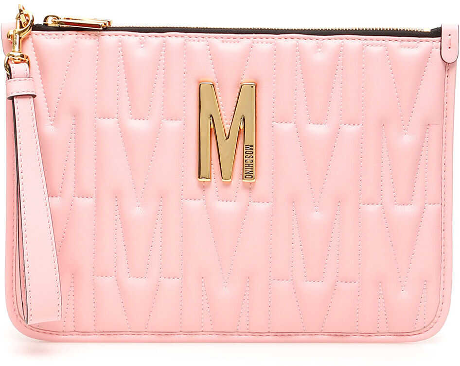 Moschino Monogram Quilted Clutch ROSA