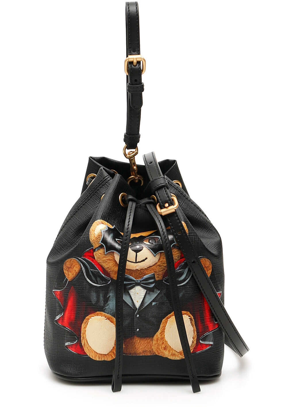 Moschino Bat Teddy Bear Bucket Bag FANTASIA NERO