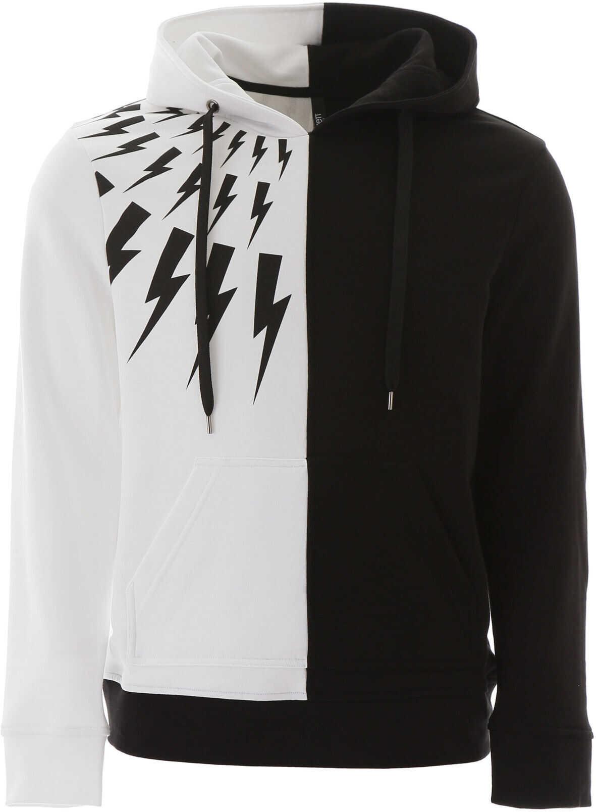 Neil Barrett Thunder Print Hooded Sweatshirt BLACK WHITE