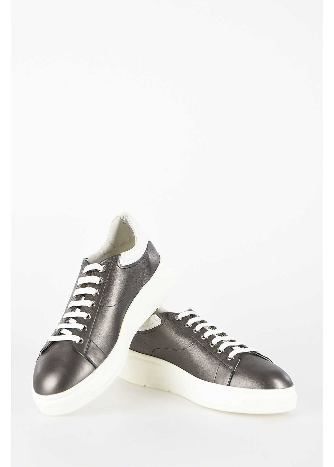 Armani EMPORIO Leather Sneakers GRAY