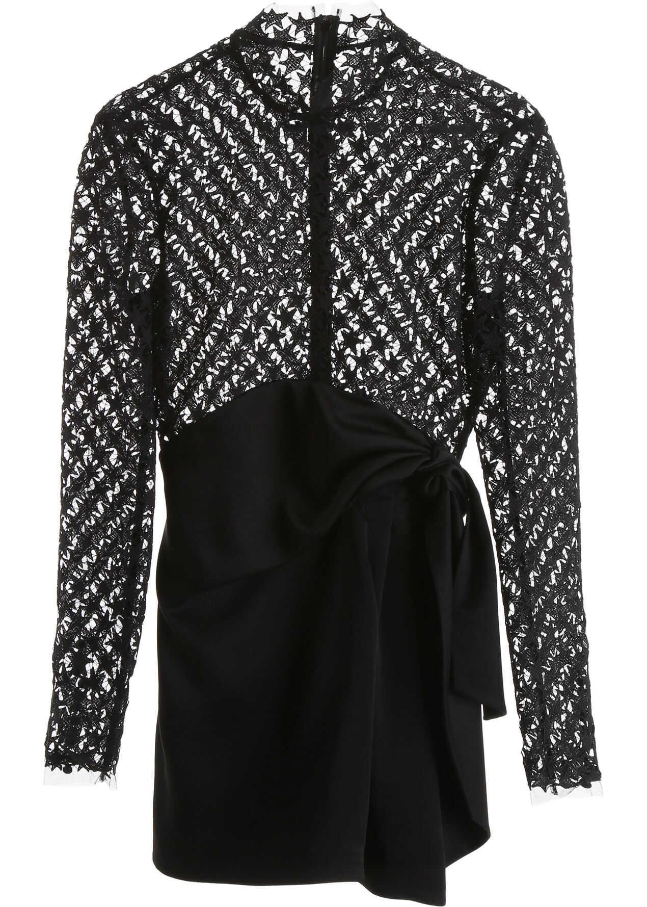Saint Laurent Stars Lace Mini Dress NOIR COTE BRILLANT