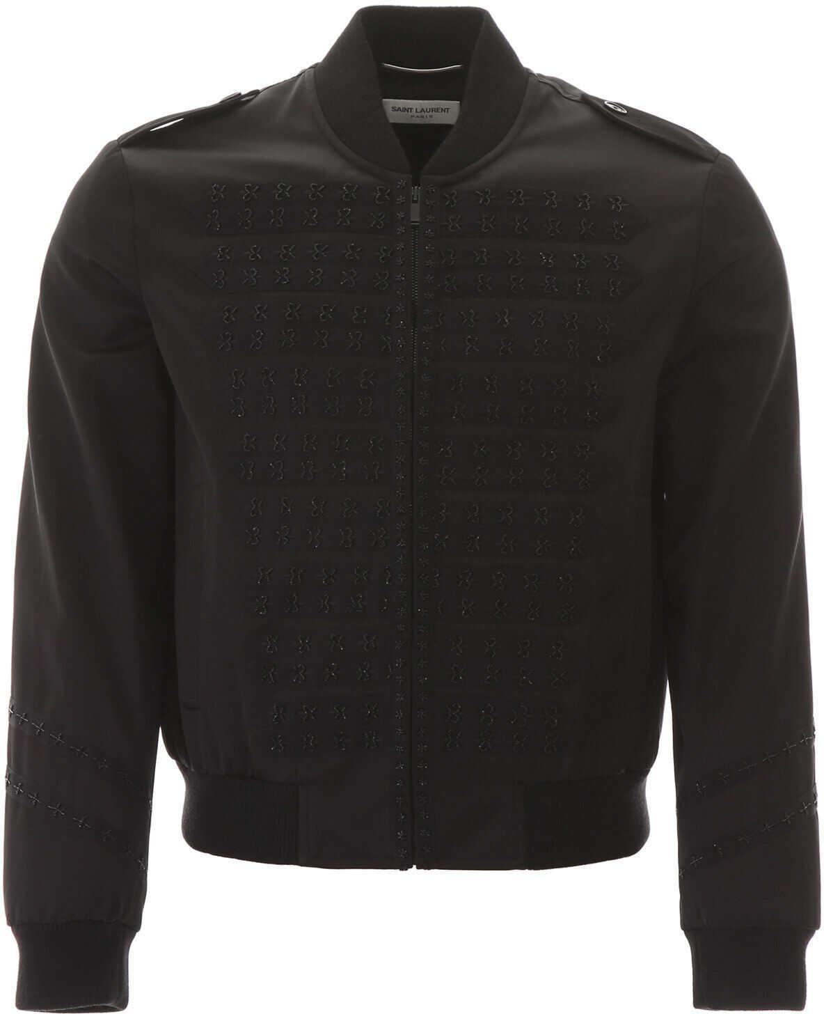 Saint Laurent Teddy Bomber Jacket With Bead Embroideries NOIR imagine