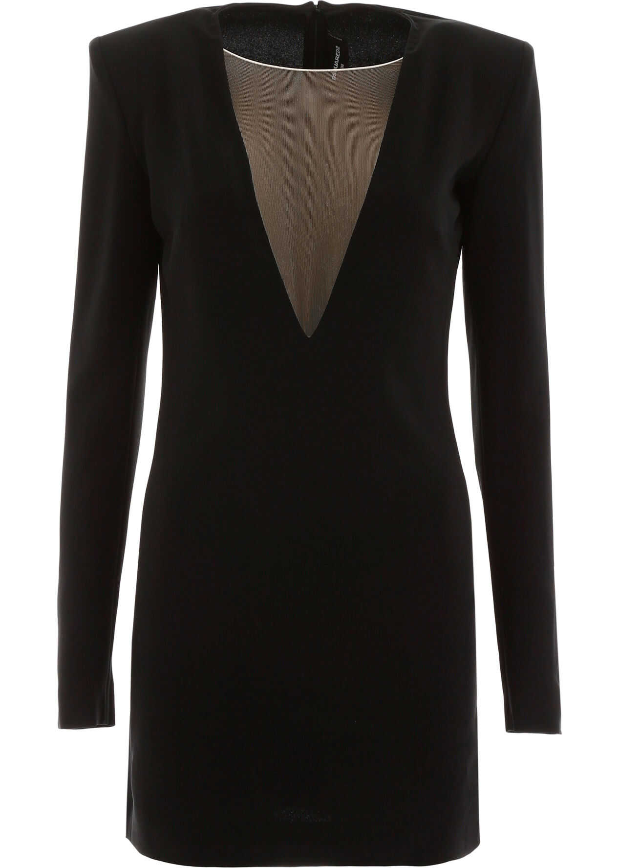 DSQUARED2 Mini Dress With Tulle Insert BLACK