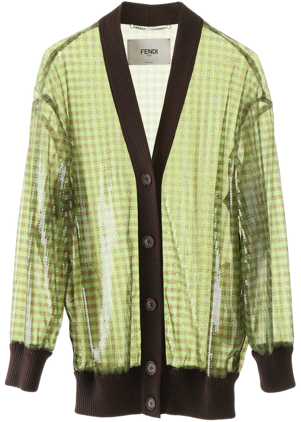 Fendi Sequined Vichy Cardigan PINE