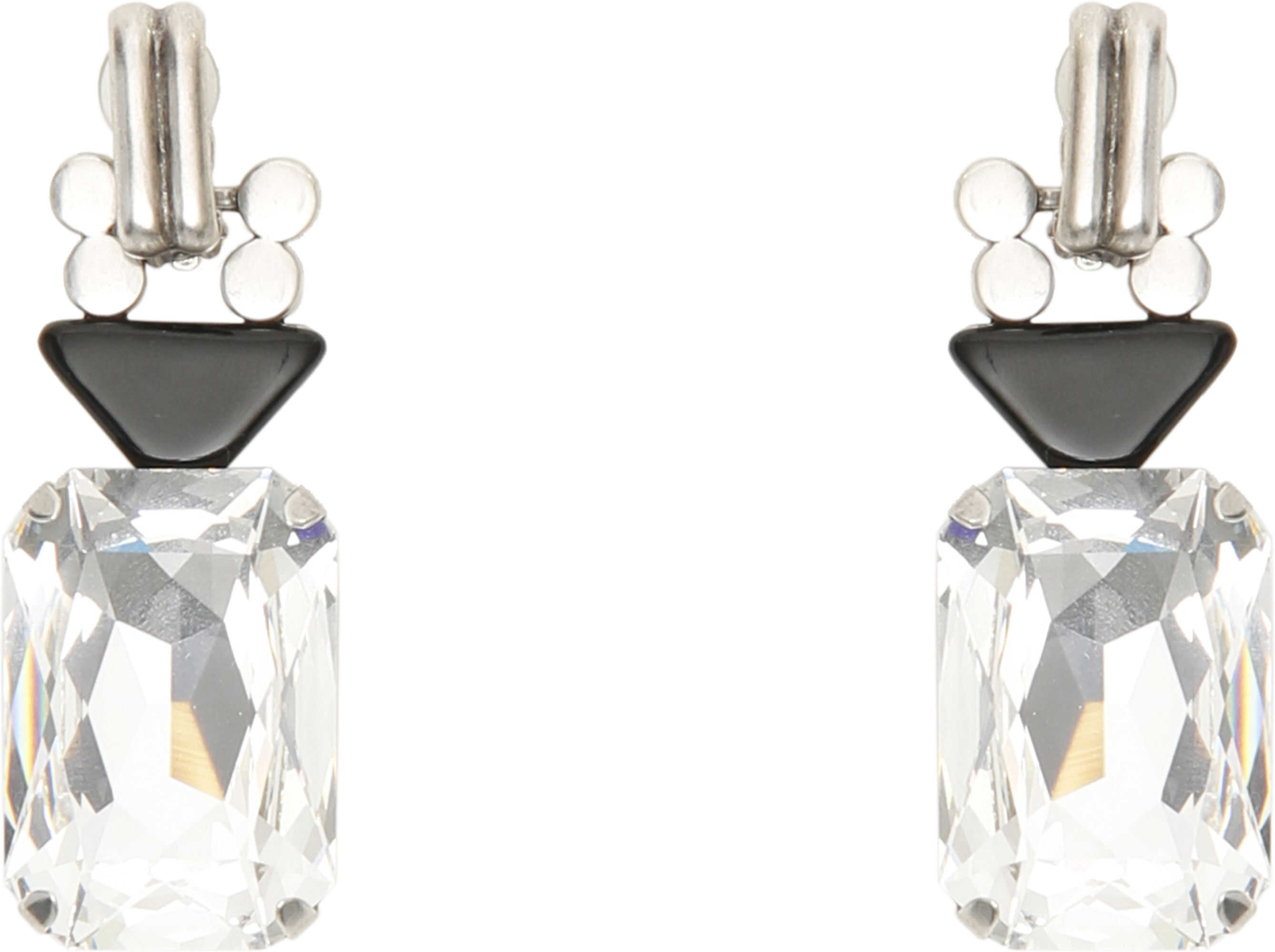 Saint Laurent Smoking Earrings ARG OX NOIR CRYSTAL