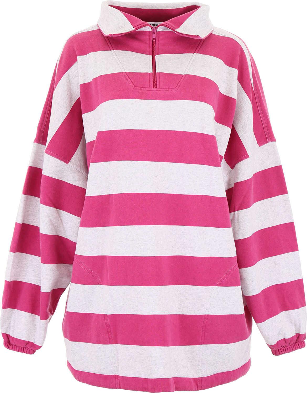Balenciaga Oversized Striped Sweatshirt PAL HEA GREY PINK