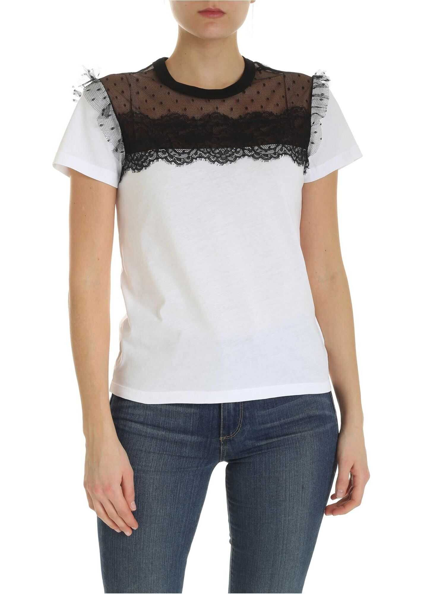 RED VALENTINO White T-Shirt With Nude Effect Detail White