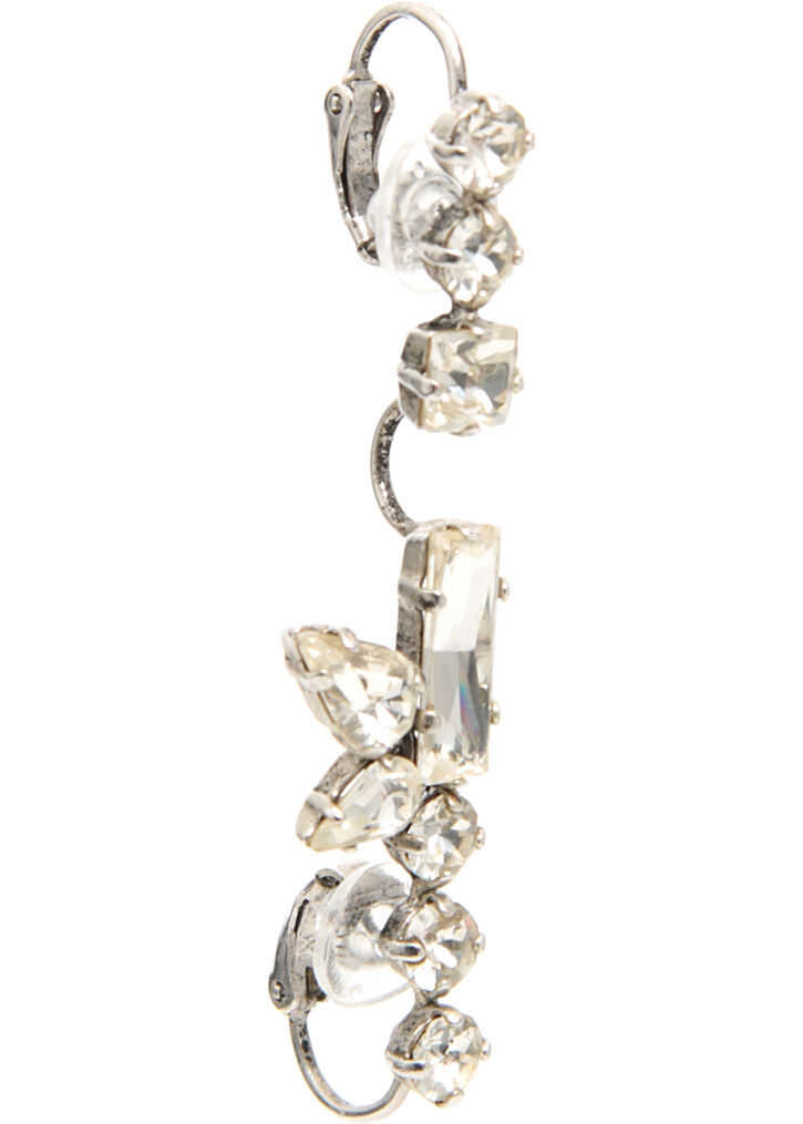 Saint Laurent Long Smoking Earring PALLADIUM/CRYSTAL