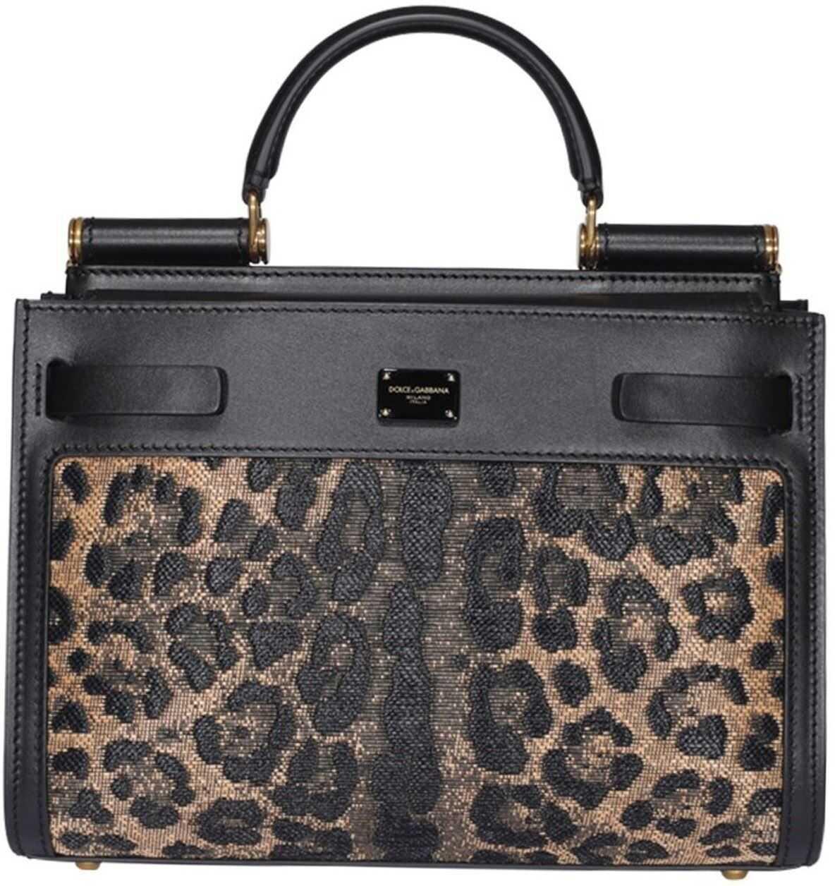 Dolce & Gabbana Sicily 62 Small Bag In Black Animal print