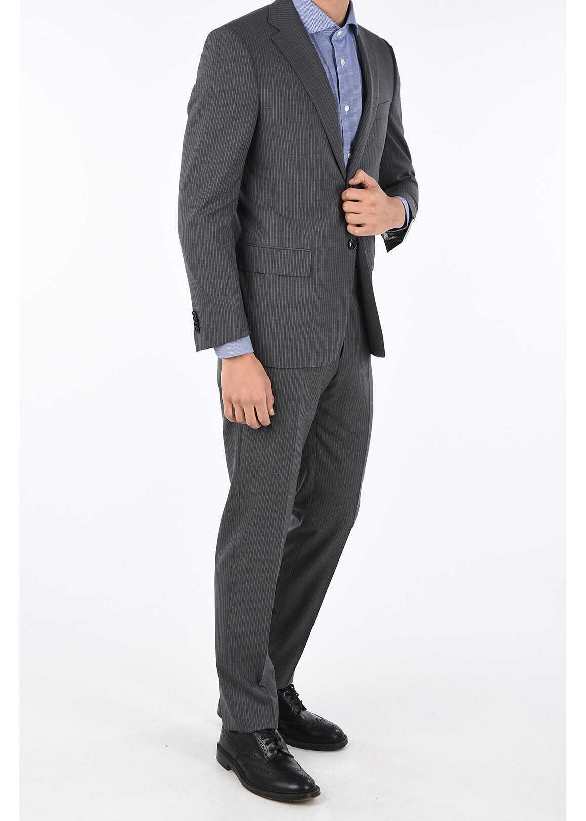 CORNELIANI notch lapel pinstriped MATUA 2-button suit GRAY imagine
