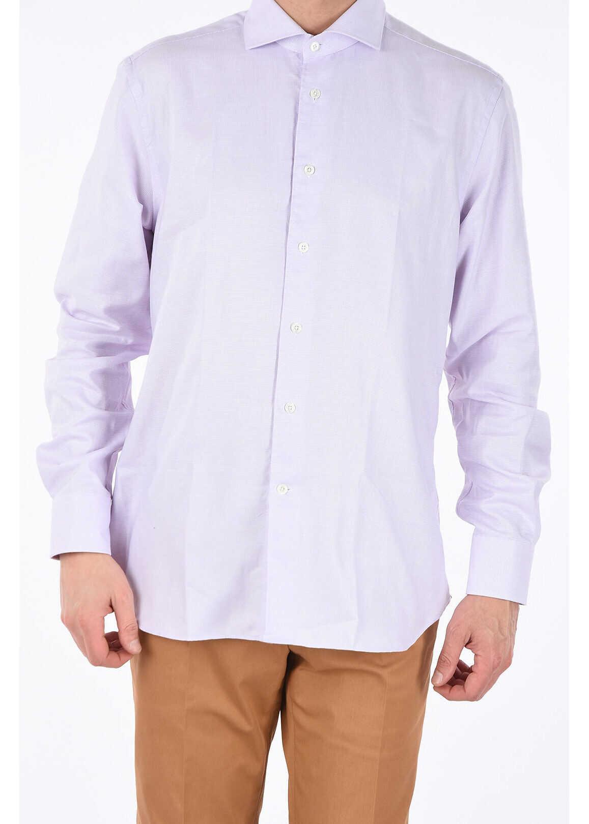 CORNELIANI Semi-French Neck Shirt PINK imagine