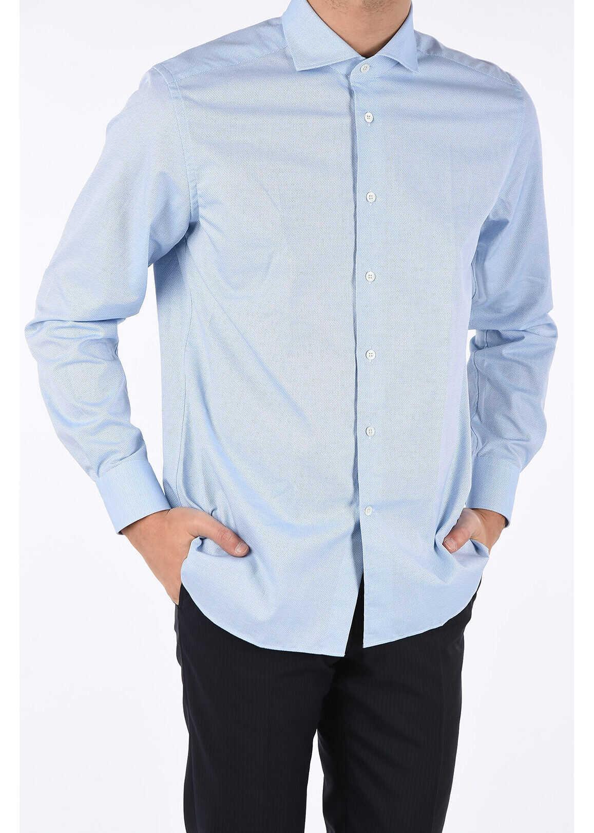CORNELIANI Semi-French Neck Shirt LIGHT BLUE imagine