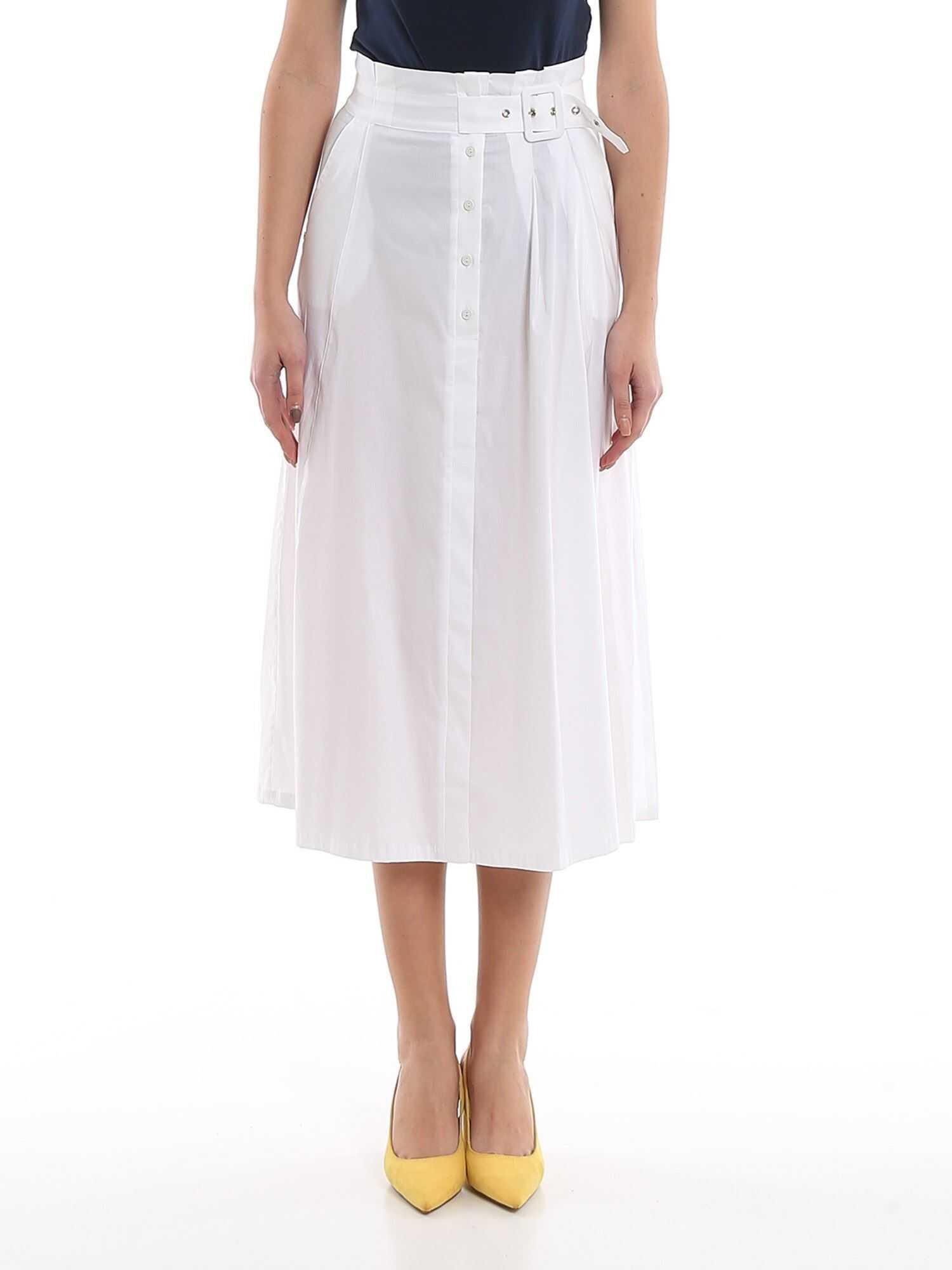Patrizia Pepe Jersey Skirt In White White